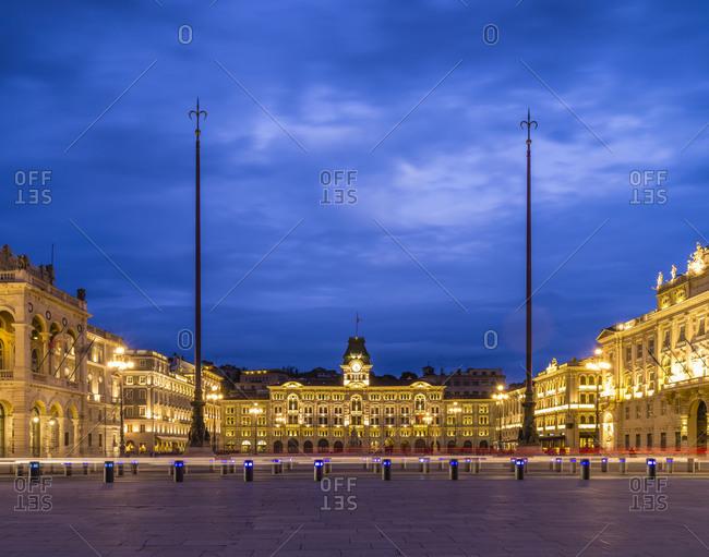 Piazza dellUnita dItalia in Trieste at blue hour