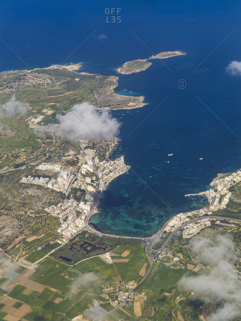 Xemxija Bay on Malta in birds-eye view