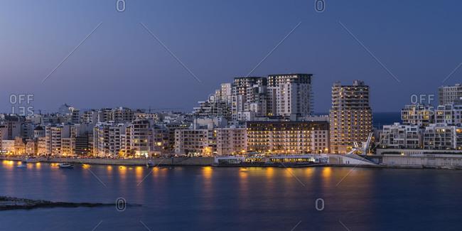 Skyline of Sliema on Malta at blue hour
