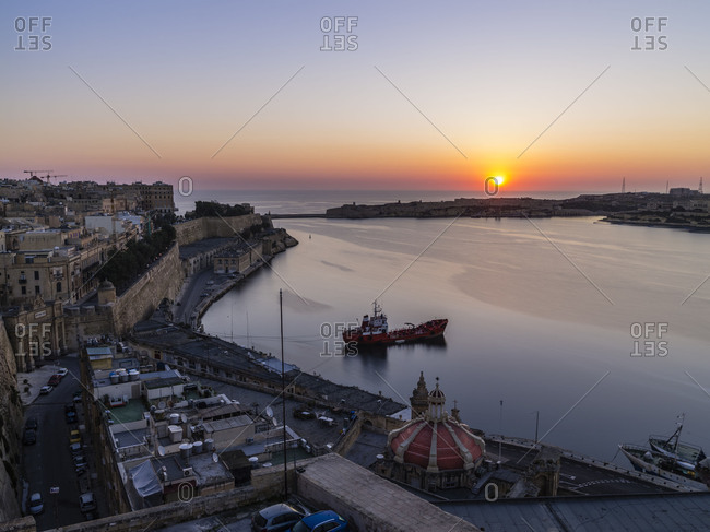 Sunrise above Grand Harbor in Valletta on Malta