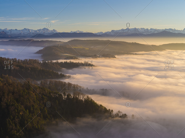 Sunset over the sea of fog on the Uetliberg near Zurich