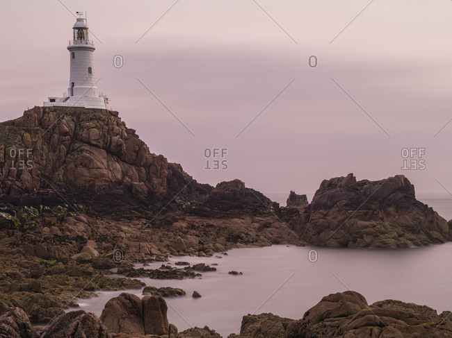 Corbiere Lighthouse on Jersey in the evening light