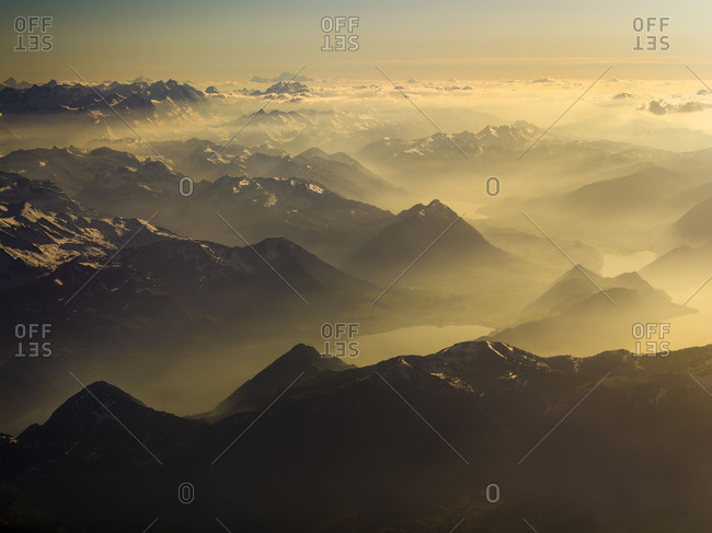 Afternoon haze above the Swiss alps