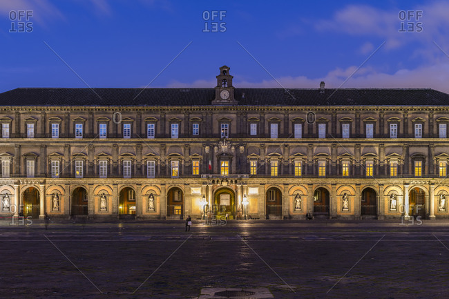 November 30, 2017: Palazzo Reale in Naples at blue hour