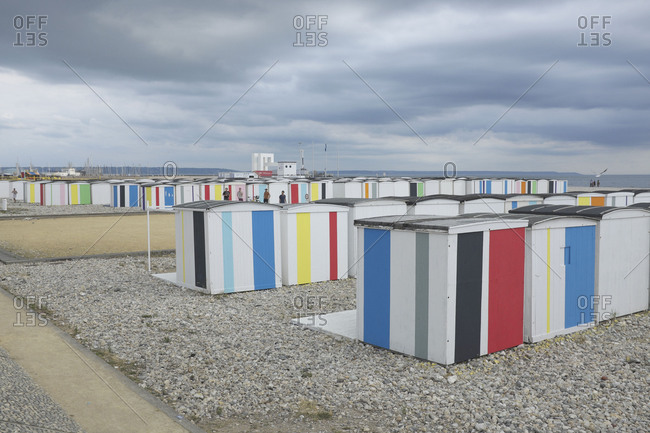 April 23, 2018: The city of Le Havre celebrates its 500th anniversary, beach houses of le Havre by Karel Martens painted during Une Ete au HavrePublic Art
