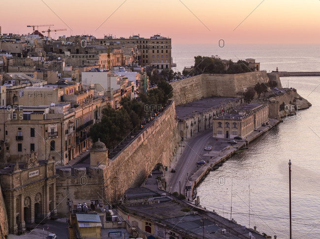 Sunrise above Grand Harbor in Valletta on Malta