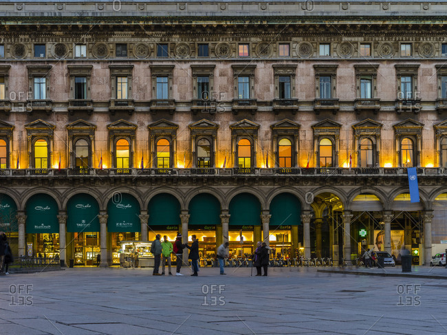 November 30, 2017: Piazza de Duomo in Milan evening mood