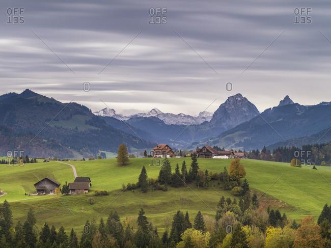 Alpine panorama with Mythen on the Etzel