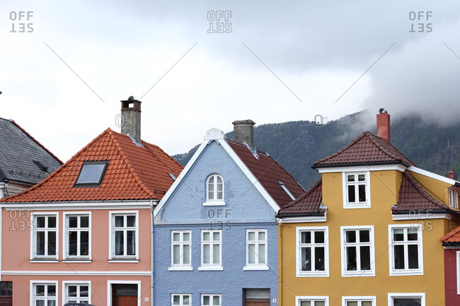 Characteristic Norwegian row of houses at Bergen