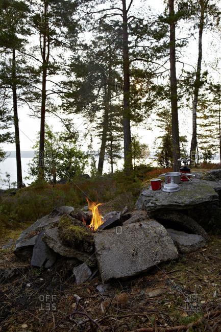 Campfire, shore, Lelang, Dalsland, Sweden