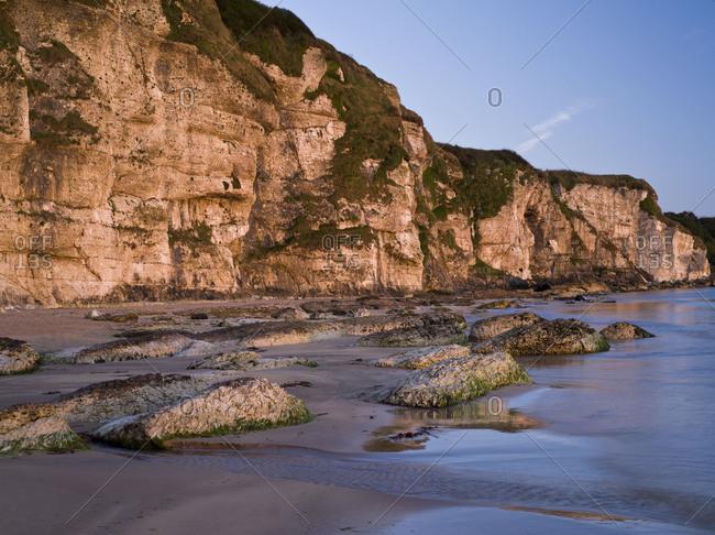 Northern Ireland, Antrim, Causeway Coast, steep coast made of mussel limestone close Ballintoy, blue hour
