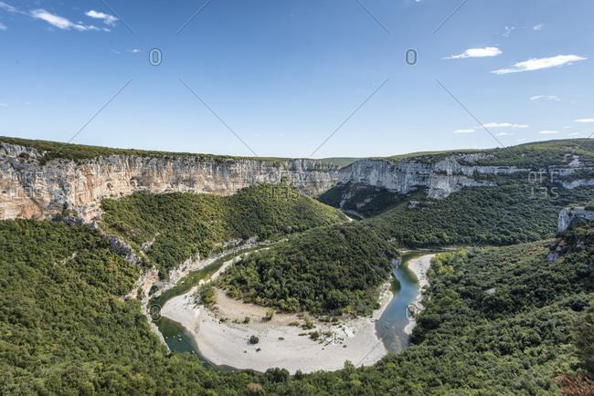 France,  Rhone-Alpes, Ardeche, Saint-Martin-dArdeche, Gorges de lArdeche, view at the Cirque de la Madeleine in the Ardeche Valley.