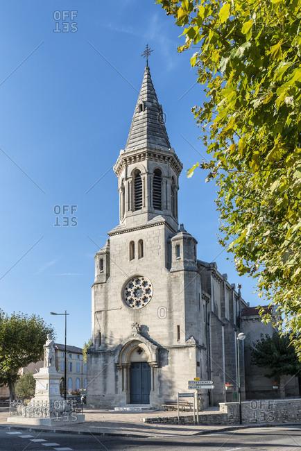 Montsegur-sur-Lauzon, Drome, France, Les Barquets Late-Romanesque chapel in Montsegur-sur-Lauzon, Department Drome, in the region of Auvergne-Rhone-Alpes, Arrondissement Nyons, canton Grignan