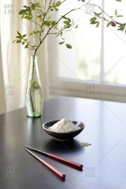 Rice flour, bowl, chopsticks, rice,