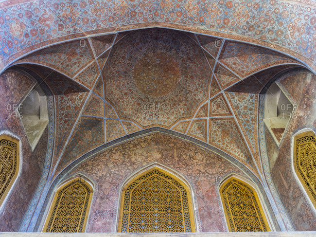 Vault detail in Chehel Sotoun Palace in Isfahan