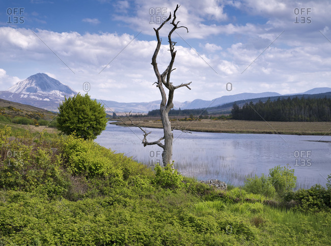 Ireland, Donegal, Glenveagh national park, view to the Mount Errigal at the Lough Nacung