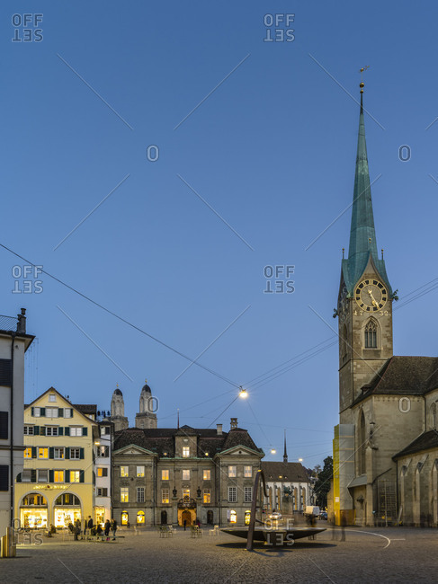 May 29, 2018: Munsterhof with Fraumunster church in the old town of Zurich in the evening at the blue hour