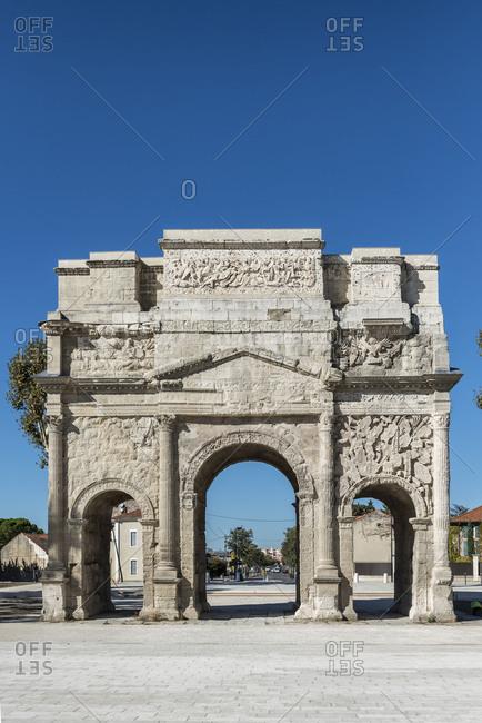 Orange, Vaucluse, Provence-Alpes-Cote dAzur, France, Triumphal Arch of Orange, UNESCO world cultural heritage