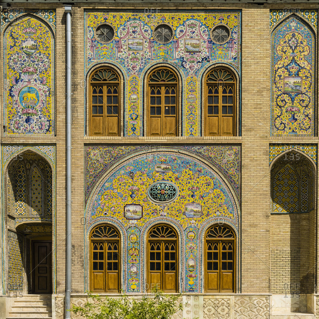 Facade detail of Golestan Palace in Tehran