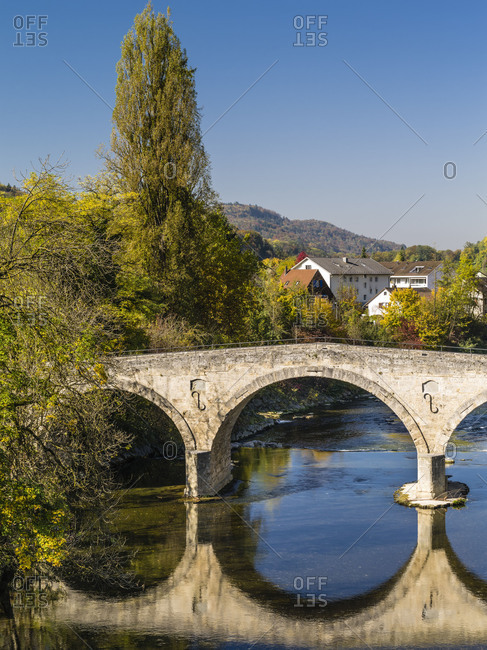 Historic Roman bridge across Toss River at Rorbas in the Canton of Zurich