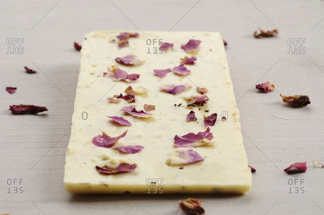 White chocolate, rose leaves