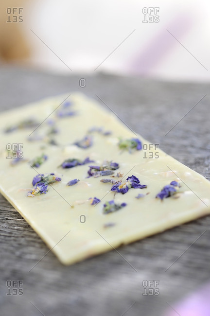 White chocolate, lavender flowers,