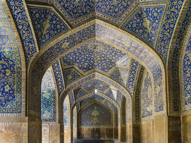 Blue tile vault in Imam Mosque in Isfahan