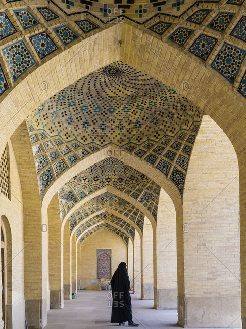 May 29, 2018: Arcades in the inner courtyard of Nasir-ol-Molk Mosque in Shiraz