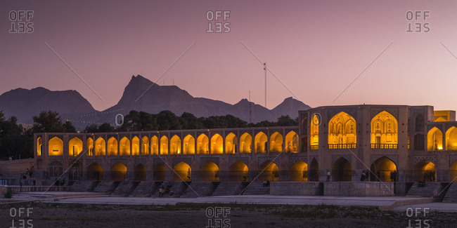 May 29, 2018: Panorama of the illuminated Khaju Bridge in Isfahan at sundown