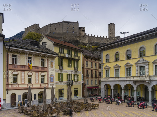 May 29, 2018: Piazza Collegiata with Castello Grande in Bellinzona