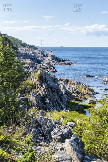 The typical rocky coast at Randklove, Europe, Denmark, Bornholm,