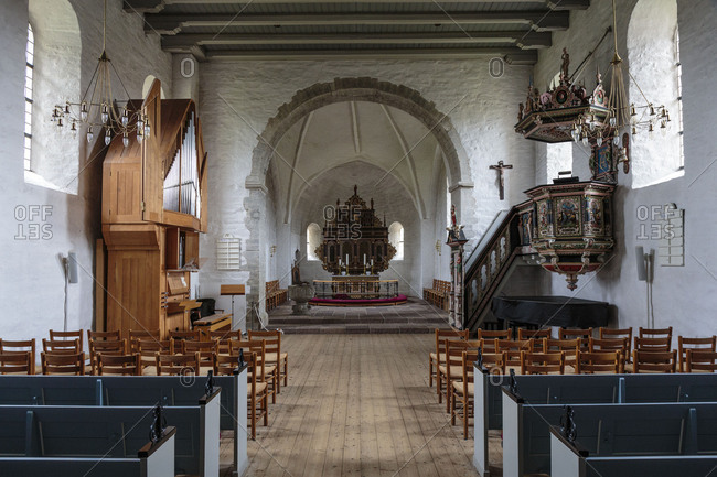 The nave of the Aa Kirke (12th century) in Aakirkeby, Europe, Denmark, Bornholm,