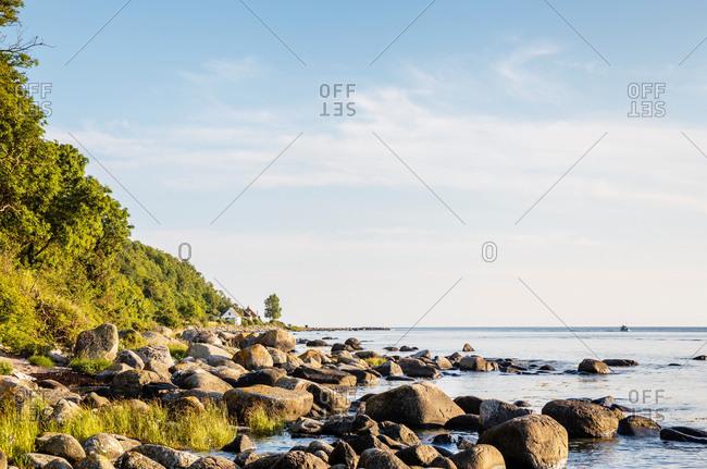 View from Jons Kapel / Jons chapel to the harbor of Teglkas, Europe, Denmark, Bornholm,