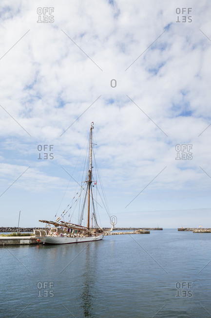 Sailing ship in the harbor of Hasle, Europe, Denmark, Bornholm,