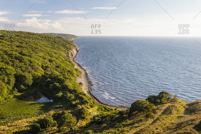 View from the Hammershus Castle Ruin to the south towards Vang, Europe, Denmark, Bornholm,
