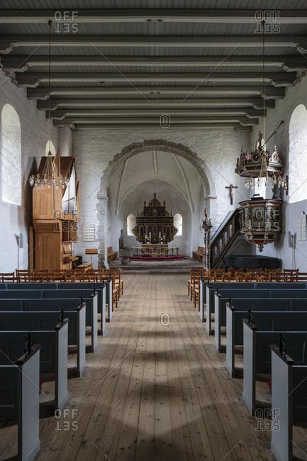 The nave of the Aa Kirke (12th century), Europe, Denmark, Bornholm, Aakirkeby,