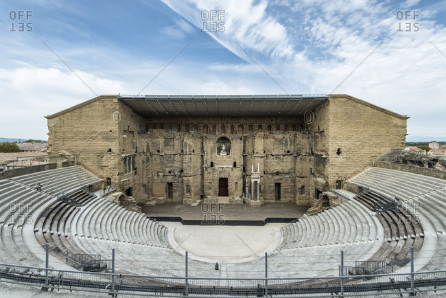 May 29, 2018: Orange, Vaucluse, Provence-Alpes-Cote dAzur, France, the Roman theatre in Orange, UNESCO world cultural heritage
