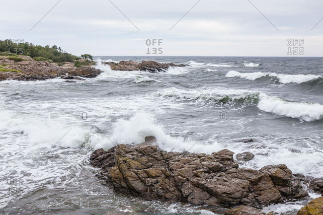 Stormy Baltic Sea in Allinge, Europe, Denmark, Bornholm,