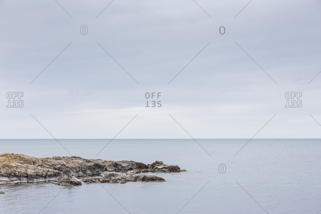The quiet Baltic Sea in front of Gudhjem, Europe, Denmark, Bornholm,