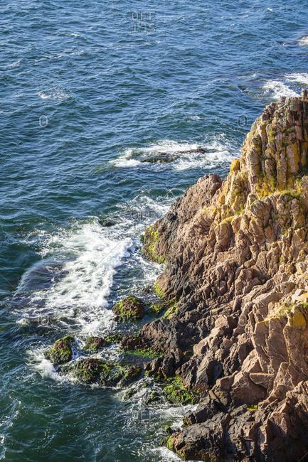 The steep coast directly below the ruins of Hammershus, Europe, Denmark, Bornholm,