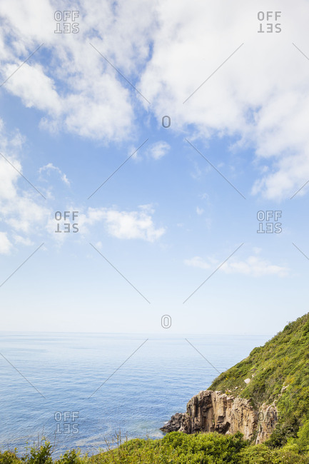 The steep coast between Teglkas and Vang, Europe, Denmark, Bornholm,
