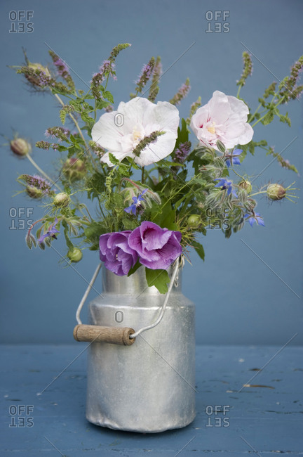 Bouquet in a milk jug