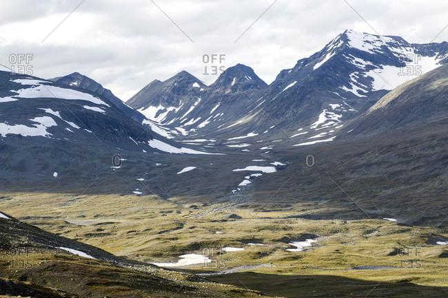 View into the mountains of Boarektjahkk and Gadoktjahkka in Sarek National Park, Sweden