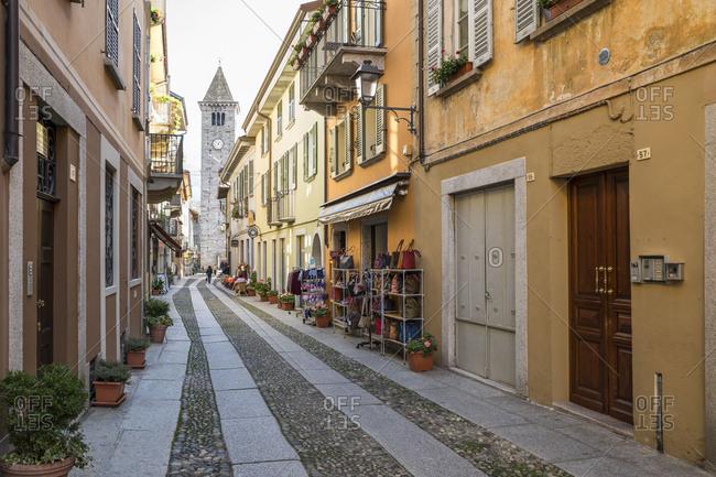 April 23, 2018: Alley in Cannobio, Lake Maggiore, province of Verbano-Cusio-Ossola, Piedmont, Italy, Europe