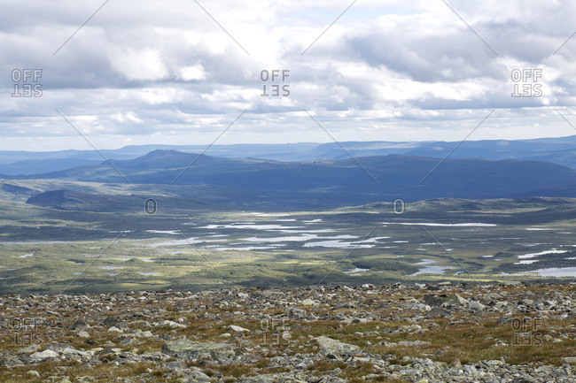 View from the Parte plateau to the east, Nae Stuor Jiertta in Sarek National Park, Sweden