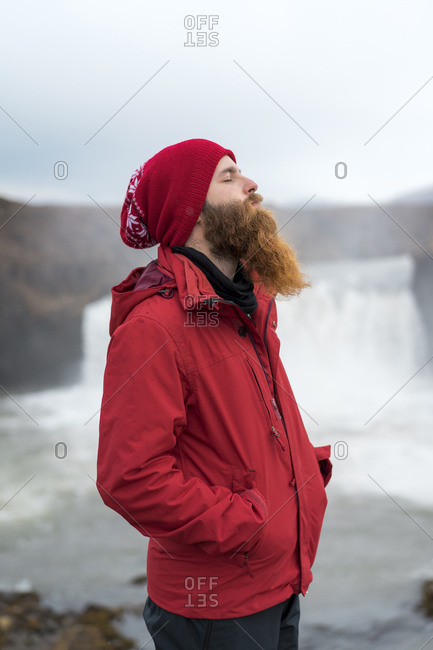 Iceland- North of Iceland- young man with closed eyes