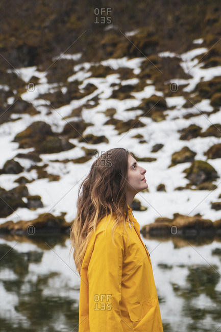 Iceland- smiling woman in Icelandic landscape