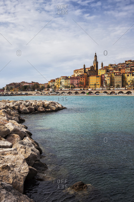 France-  Provence-Alpes-Cote d'Azur- Menton- Old Town- French Riviera at Mediterranean Sea