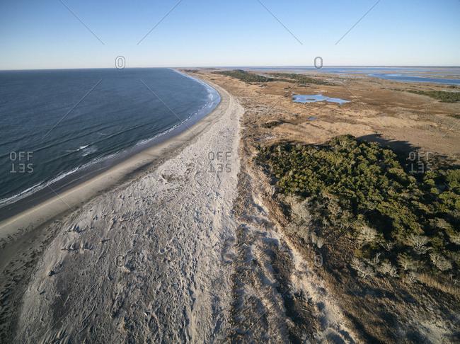 USA- Virginia- Aerial view of Virginia Coast Reserve- Atlantic Ocean- beach and marshland