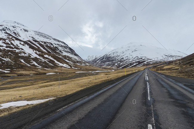 Iceland- North of Iceland- empty road in winter